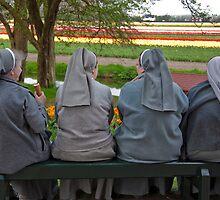 Nuns at Keukenhof Gardens by Alison Cornford-Matheson