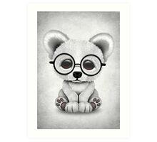Cute Polar Bear Cub with Eye Glasses on White Art Print