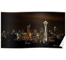 Seattle Night Lights Poster
