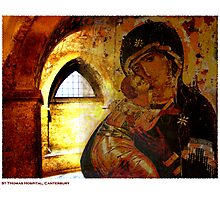 Madonna and Child in St. Thomas Hospital, Canterbury, Kent. Photographic Print