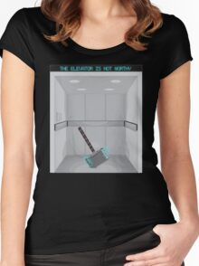 The elevator is not worthy Women's Fitted Scoop T-Shirt