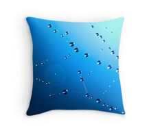 Drops on the web Throw Pillow