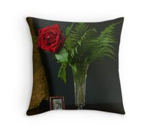 First Rose of Spring Throw Pillow