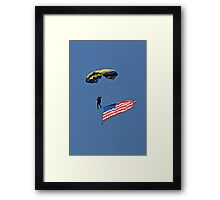 Parachuting with the Flag Framed Print
