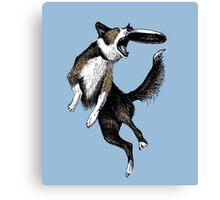 Dog & Frisbee Canvas Print