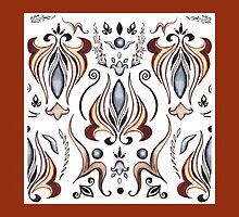 Mystic Lily Pattern With Brown Edge by Irina Sztukowski