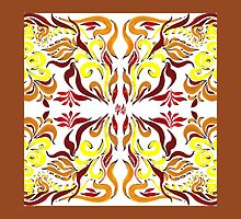 Floral Flow Pattern With Brown Edge by Irina Sztukowski