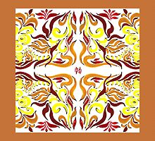 Floral Flow Pattern With Caramel Edge by Irina Sztukowski