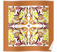 Floral Flow Pattern With Caramel Edge Poster