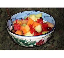A Salad of Fruit in a Painted Bowl Photographic Print