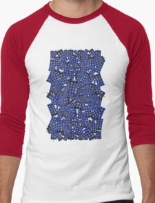 British Blue Phone box Pattern Men's Baseball ¾ T-Shirt