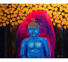 Buddha Among Golden Leafs  Photographic Print