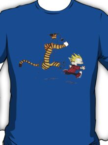 Calvin And Hobbes playing T-Shirt