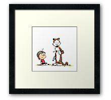 Calvin And Hobbes runner Framed Print