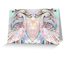 Pastel Love Birds Duo Watercolour Painting Alternate Options Greeting Card