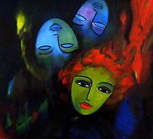 Red hair, blue masks by nelly  van nieuwenhuijzen