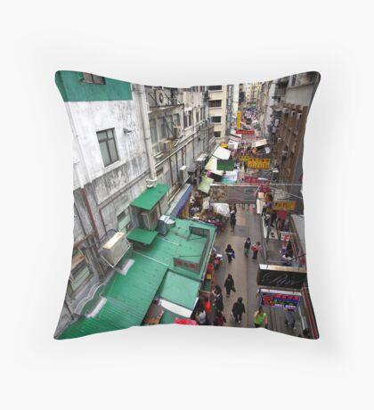 Street market, Hong Kong. Throw Pillow
