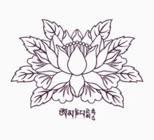 Lotus with Om Mani Padme Hum Mantra  by bodhicittatees