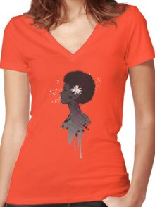 Flower Head Lady Women's Fitted V-Neck T-Shirt