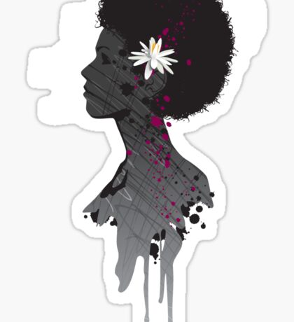 Flower Head Lady Sticker