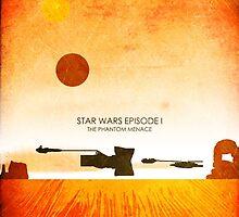 Star Wars Minimalist Film Wall Art - The Phantom Menace by JamieHarknett