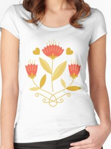 flowers everywhere/3 Women's Fitted Scoop T-Shirt