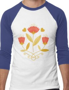 flowers everywhere/3 Men's Baseball ¾ T-Shirt