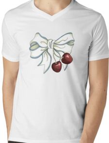 cherries-ribbon Mens V-Neck T-Shirt