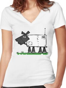 Radio controlled automatic sheep. Women's Fitted V-Neck T-Shirt