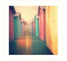Beach Huts 02D - Retro Art Print