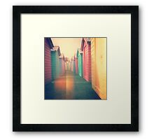 Beach Huts 02D - Retro Framed Print
