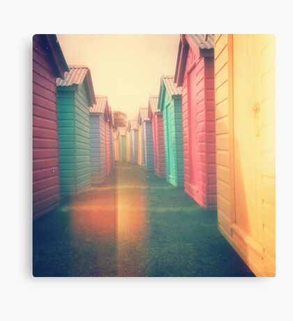 Beach Huts 02D - Retro Canvas Print