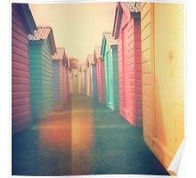 Beach Huts 02D - Retro Poster