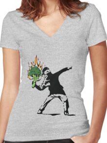 Vegan Banksy Women's Fitted V-Neck T-Shirt