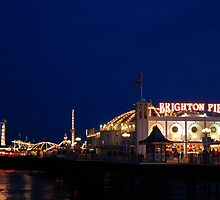 Brighton (Palace) Pier at night. by SerenityChase