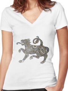 Celtic Lion Tee Women's Fitted V-Neck T-Shirt