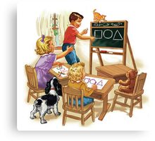 dick and jane play school Canvas Print