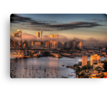 Misty- Sydney Harbour & Skyline - The HDR Experience Canvas Print