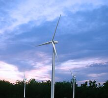 3 wind turbines with a blue sky by loki1982