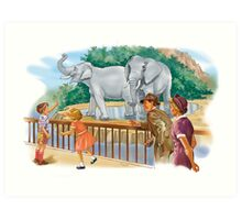dick and Jane At the Zoo Art Print