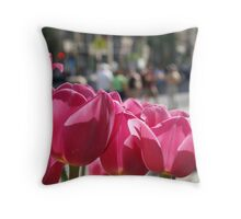 Tulips in the city. Throw Pillow