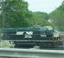 Busy Cleveland, Ohio Train-Norfolk-Southern by Bea Godbee