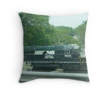 Busy Cleveland, Ohio Train-Norfolk-Southern Throw Pillow