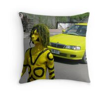 The yellow taxi by Meli Fernandes Throw Pillow