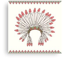 Hand drawn native american indian chief headdress Canvas Print