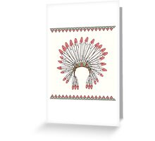 Hand drawn native american indian chief headdress Greeting Card