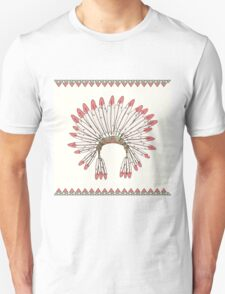 Hand drawn native american indian chief headdress Unisex T-Shirt