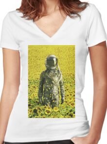 Stranded in the sunflower field Women's Fitted V-Neck T-Shirt