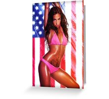 Sexy girl and a US flag Greeting Card