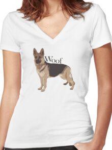Woof - Alsatian Women's Fitted V-Neck T-Shirt